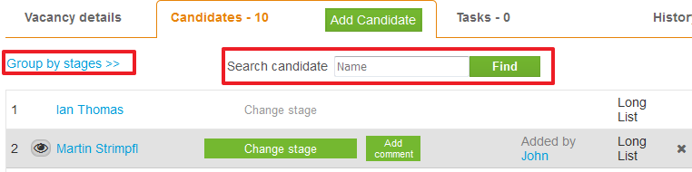 search for candidate on vacancy page