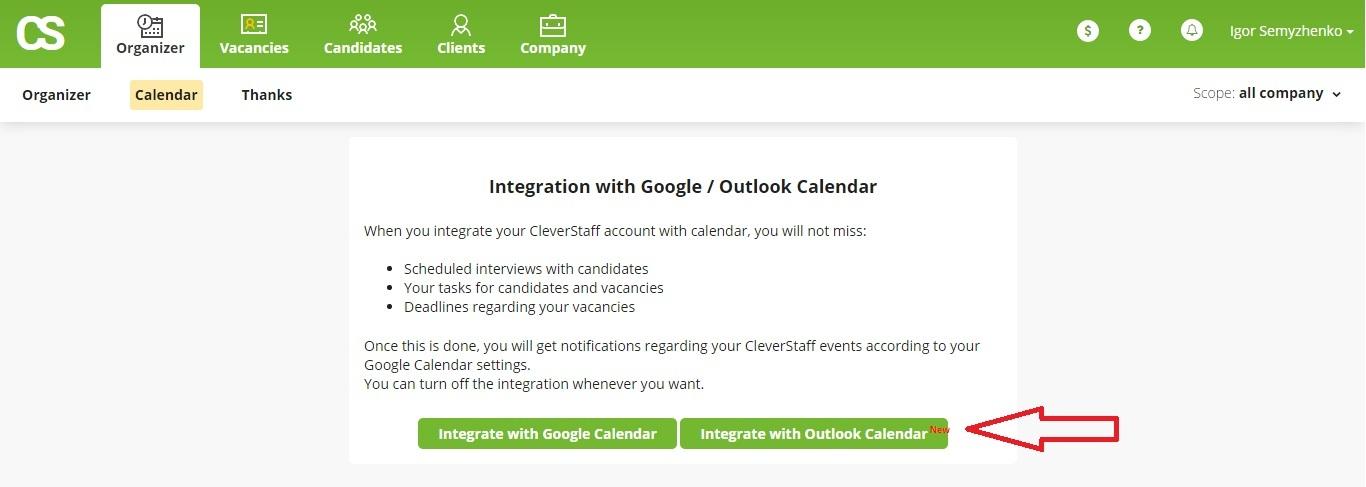 CleverStaff _ Integration with Outlook Calendar