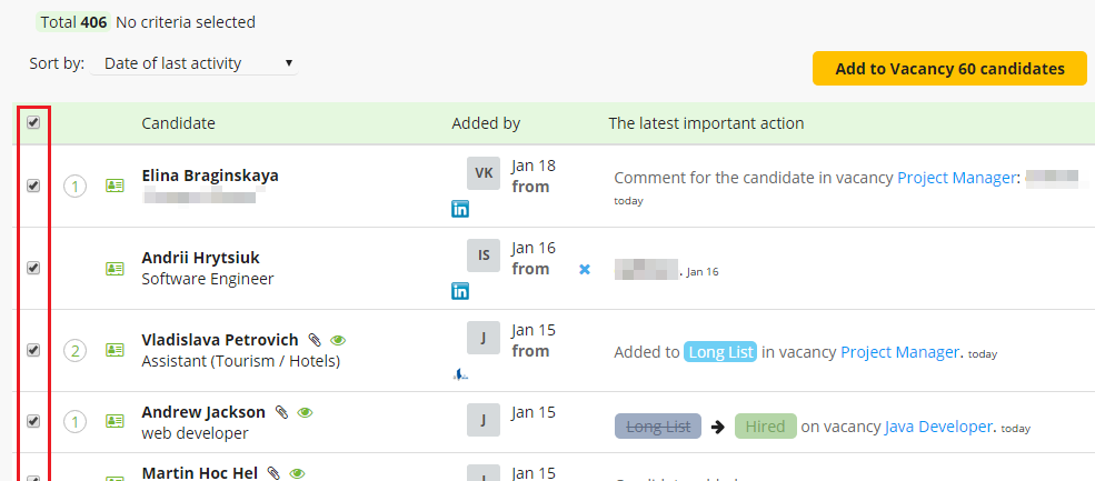 CleverStaff _ multiple candidates via 'Select all' field