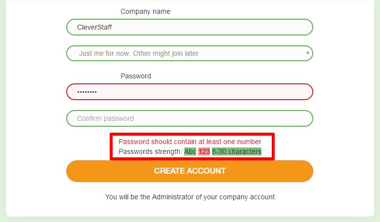 CleverStaff _ Проверка паролей при регистрации