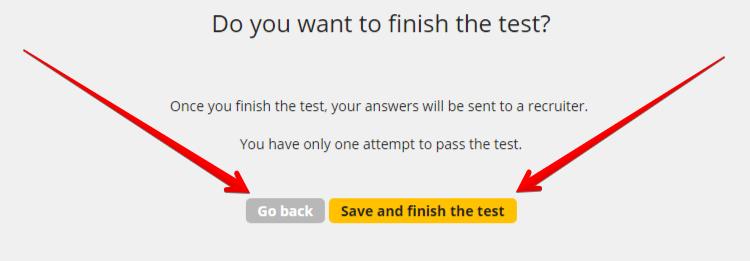 7 закончить тест и сохранить желот
