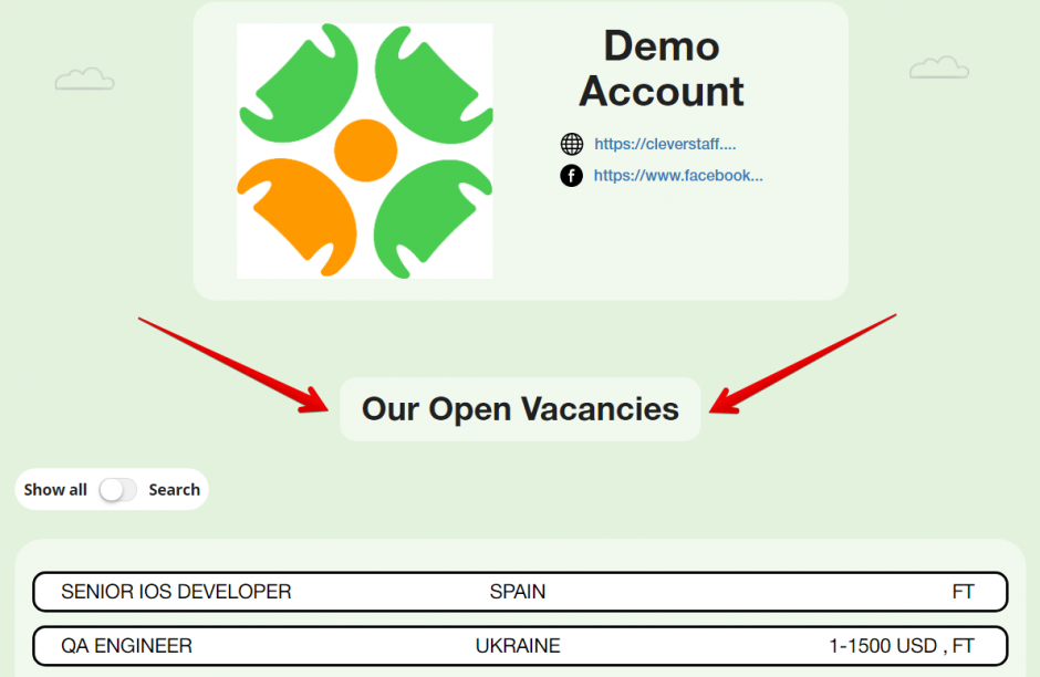 Demo Account vacancies Google Chrome 2018 03 05 15.45.57 940x612 - Новая версия: скрытие вакансии из публичного списка и приглашение Hiring manager`a сразу в вакансию