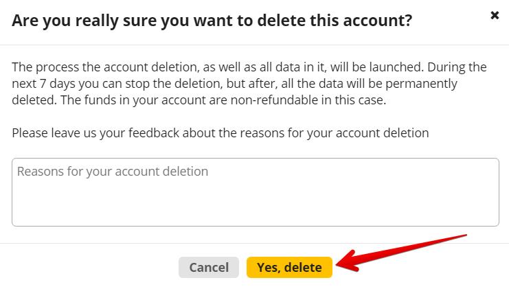 подтверждение удаление аккаунта 1 - Новая функция: безвозвратное удаление аккаунта, кандидатов, пользователей и сотрудников
