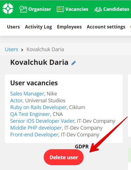 скрин удаление пользователя 1 - Новая функция: безвозвратное удаление аккаунта, кандидатов, пользователей и сотрудников