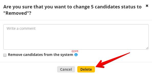 knopka udalit pop - Массовое добавление комментариев и массовое удаление кандидатов - новые функции в CleverStaff