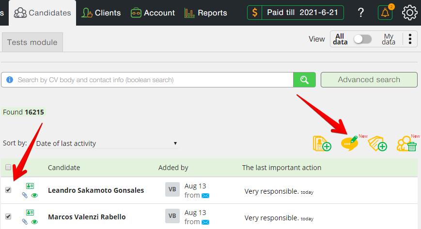 skrin 1 dobavlenie kommentov - Массовое добавление комментариев и массовое удаление кандидатов - новые функции в CleverStaff